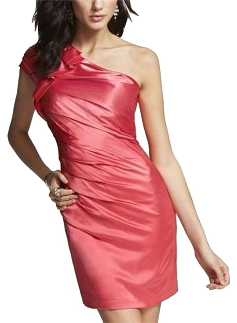 Express One Shoulder Coral Ruffle Above Knee Formal Dress Size 4 (S) Express One Shoulder Coral Ruffle Above Knee Formal Dress Size 4 (S) Image 1