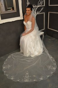 Regal Beaded Diamond White Cathedral Length Wedding Veil