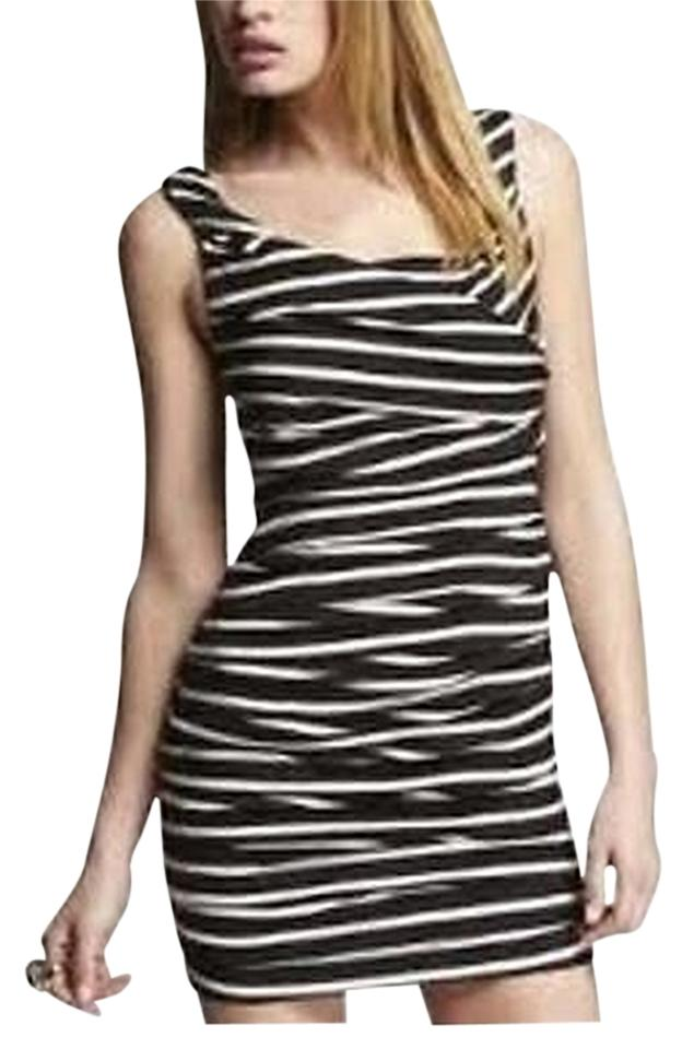 13fe9b555cb Express Black White Ruched Striped Above Knee Cocktail Dress Size 2 ...