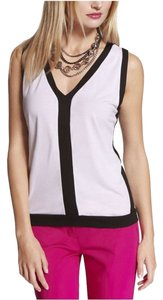 Express V-neck Top White/Black Color Block