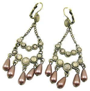 Sonoma Sanoma Chandelier Dangle Earrings Pearls Antiqued Gold J1954