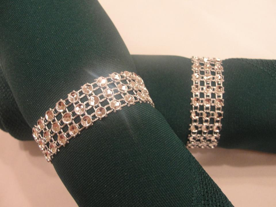 other 150 silver rhinestone style napkin rings 3 rows - Wedding Napkin Rings