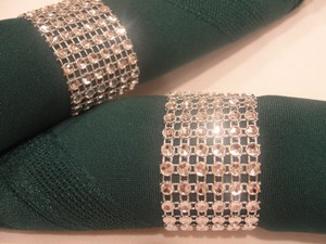 Wedding Rhinestone Diamond Mesh 200 Napkin Rings Silver Tone Bling (6 Rows) Bridal - Quinceanera - Baby Shower - Party