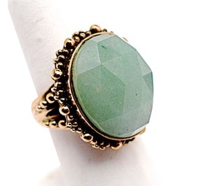 Stephen Dweck STEPHEN DWECK Faceted Jade RING w/Etched Antique Gold Bezel -One-of-a-kind- Sz 7