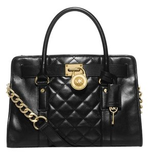 Michael Kors Leather Magnetic Hamilton Satchel in Black