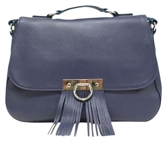 Onna Ehrlich Classic Leather Navy Messenger Bag