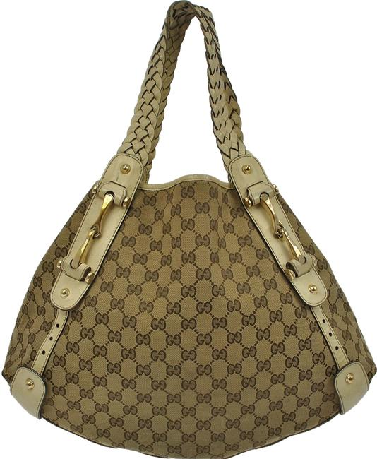Gucci Tote Pattern Brown Canvas Leather Vintage Shoulder Bag Gucci Tote Pattern Brown Canvas Leather Vintage Shoulder Bag Image 1