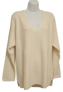 J. Jill Roomy Generous Fit Relaxed Fit V-neck Texture Knit Shaker-stitch Sweater