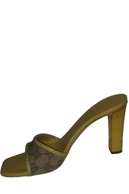 Item - Yellow/Beige Gg Canvas with Leather Trim Sandals Size US 8.5