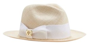 Tory Burch TORY BURCH Classic Grosgrain Fedora Hat with White Trim NWT