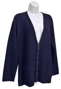 J. Jill Roomy Generous Fit Relaxed Fit V-neck Texture Knit Full Zipper Two-way Zipper Cardigan