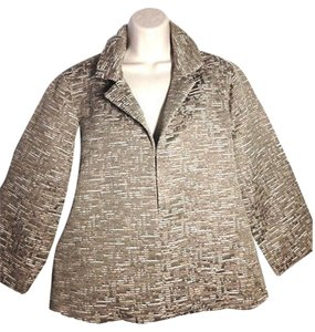 Chico's Gold Cotton Metallic Spring Jacquard Beige Jacket