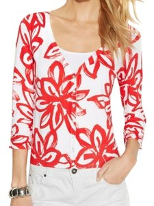 INC International Concepts V-neck Flowers Sweater