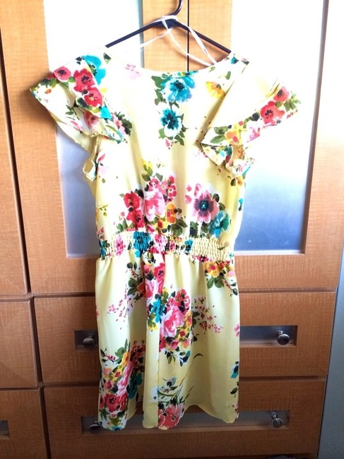 Snap short dress Yellow Floral Short Small on Tradesy