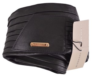 Burberry NEW BURBERRY WOMEN'S $350 BLACK CALF LEATHER PLEATED SELF TIE WRAP BELT 30 75