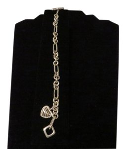 David Yurman David Yurman Pave' Diamond Cable Heart Charm on Figaro Charm Bracelet, 7.5