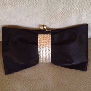 Steve Madden Satin Bow Tie Evening Day Or Night Black Clutch