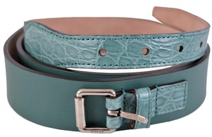 Gucci New Gucci Men's Teal Green Alligator and Leather Palladium Buckle Belt 36 90