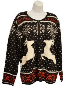 J. Jill Roomy Generous Fit Relaxed Fit V-neck Texture Knit Full Zipper Nordic Fair Isle Holiday Reindeer Snowflake Cardigan