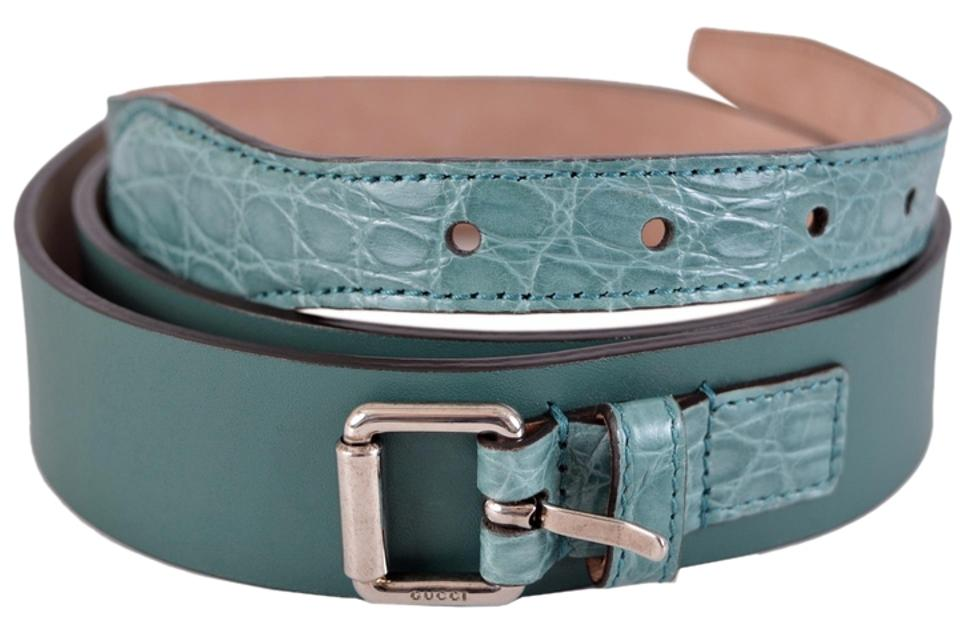 003d04a03 Gucci Teal New Men's Green Alligator and Leather Buckle 38 95 Belt ...