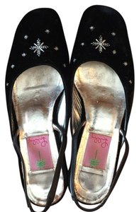 Lilly Pulitzer Suede Snowflake Black velvet Flats