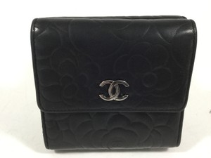 Chanel Chanel Black Camellia Quilted Lambskin Double Sided Wallet