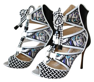 Nicholas Kirkwood Black And White Peter Pilotto Exotic One-of-a-kind multi color Sandals