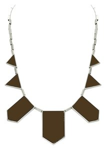 House of Harlow 1960 House of Harlow 5 Station Necklace in Chocolate/Silver Plate