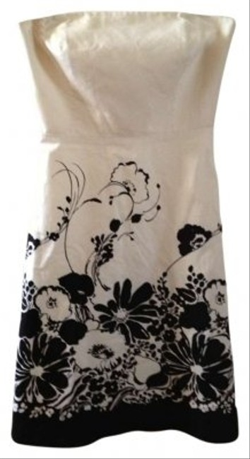 Ann Taylor short dress Cream w/Black Floral Print on Tradesy