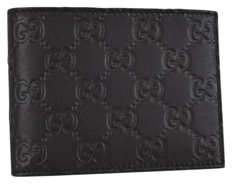 0ead84874e08 Gucci New Gucci Men's 143384 Black Leather GG Guccissima Bifold Wallet W/Coin  Pocket Image ...