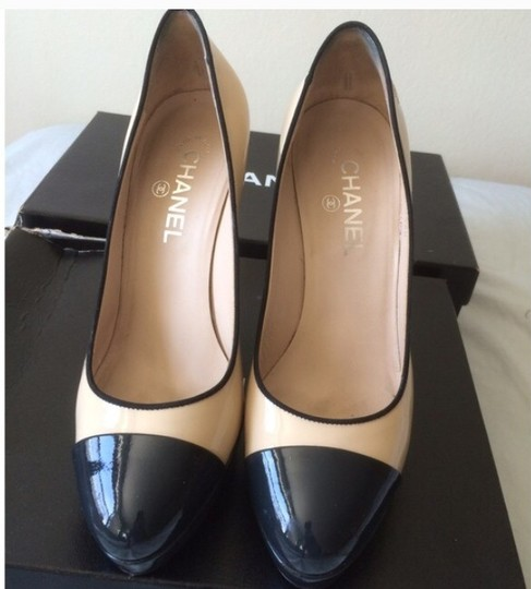 Chanel Two Tone Patent Leather Platform Pumps