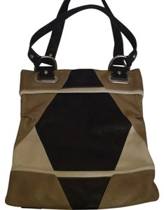 B. Makowsky Tote in Brown Tan Cream