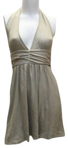 Alice + Olivia short dress LIGHT GOLD + Metallic Halter Stretchy Cotton. Small on Tradesy