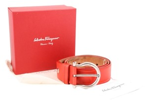 Salvatore Ferragamo Salvator Ferragamo Orange Leather Mancini Belt