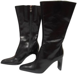 Donald J. Pliner Soft Leather Made In Italy Zip Up Mid-calf black Boots
