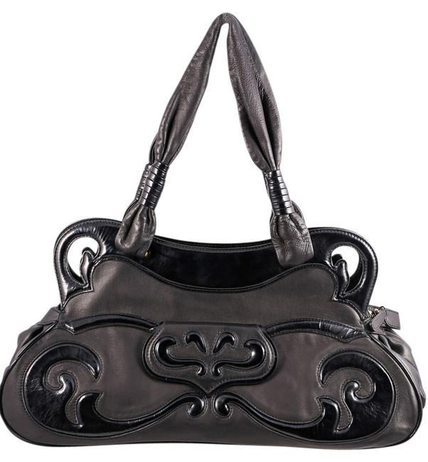 BCBGMAXAZRIA Grained Long Black Leather Shoulder Bag BCBGMAXAZRIA Grained Long Black Leather Shoulder Bag Image 1