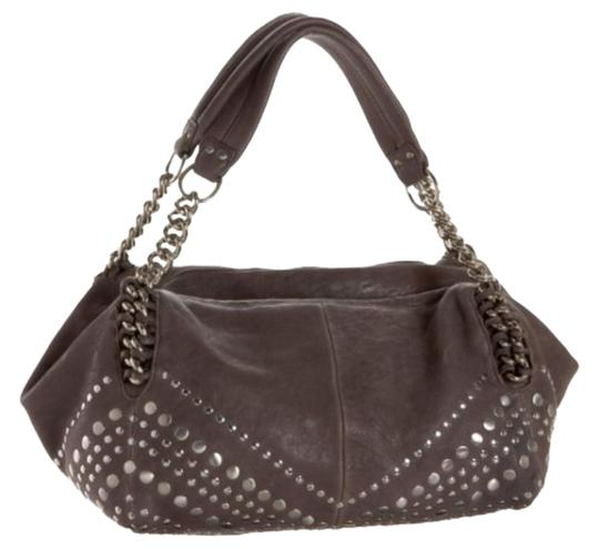 Junior Drake Leather Italian Leather Womens Studded Studded Leather Leather Stone Leather Chain Satchel in Gray