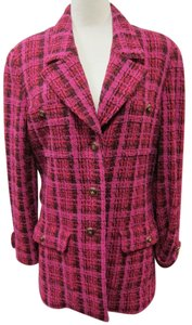 Chanel Black and Pink Tweed Blazer Blazer