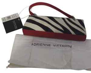 Adrienne Vittadini Black Red White Zebra Print Clutch With A Handle Clutch