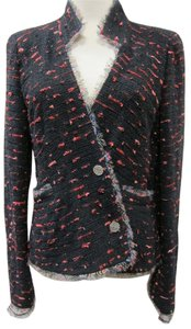 Chanel Tweed Logo Black and Pink Blazer