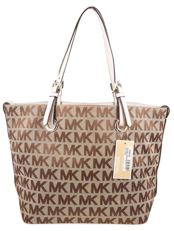 0c674d891d95b Michael Kors Jet Set Signature Goldtone Hardware Tote in Brown Image 0 ...