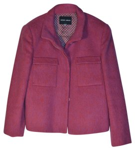 Giorgio Armani Black Label Made In Italy Wool Mohair Blend Hot Couture Designer Detail Pink with lavender undertones Blazer