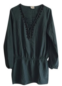 Haute Hippie short dress Dark Green Beaded Silk Lace Up on Tradesy