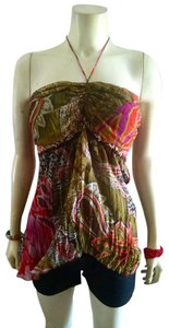 Anna Paul P784 Size Medium Silk Green, orange, purple, brown, pink Halter Top