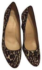 J.Crew Black with white & tan spotted pattern Wedges