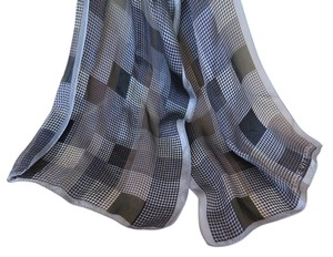 Adrienne Vittadini 100% Silk Black/White/Grey Check Scarf