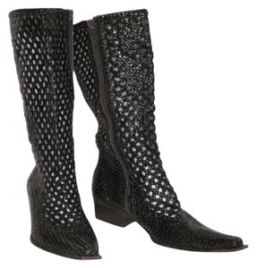 Pons Quintana Woven Leather European Deep brown Boots