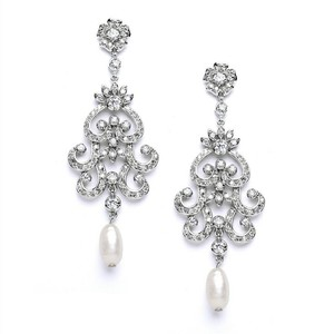 Vintage Glam Crystal & Fresh Water Pearl Bridal Earrings