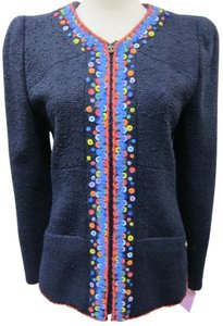 Chanel Embroidered Exclusive Navy Multi Blazer