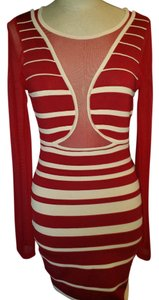 WOW short dress Burgundy ivory Bandage Fitted Sheer Sexy on Tradesy